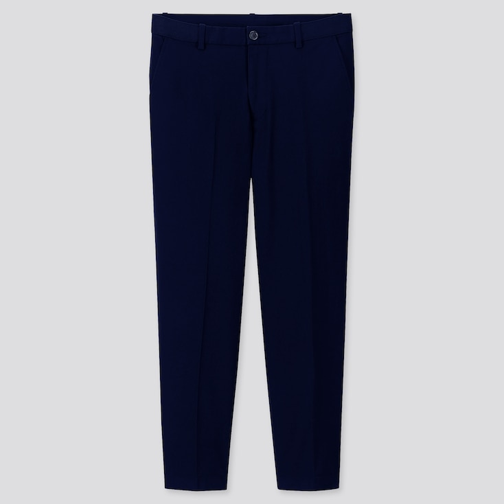 MEN EZY RELAXED FIT ANKLE-LENGTH PANTS, NAVY, large