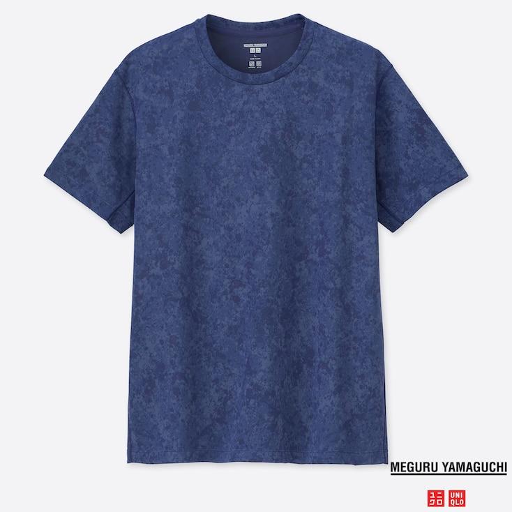 MEN DRY-EX MEGURU YAMAGUCHI CREW NECK SHORT-SLEEVE T-SHIRT, BLUE, large