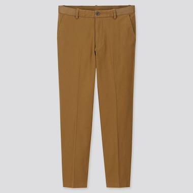 "MEN EZY RELAXED FIT ANKLE-LENGTH PANTS (TALL 31"") (ONLINE EXCLUSIVE), BROWN, medium"