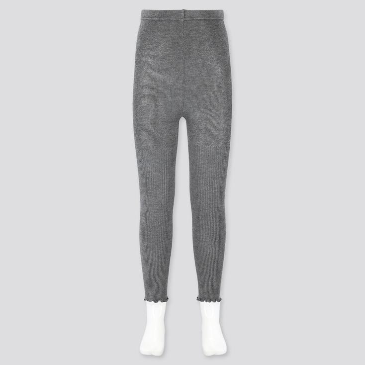 Girls Ribbed Ankle-Length Leggings, Dark Gray, Large