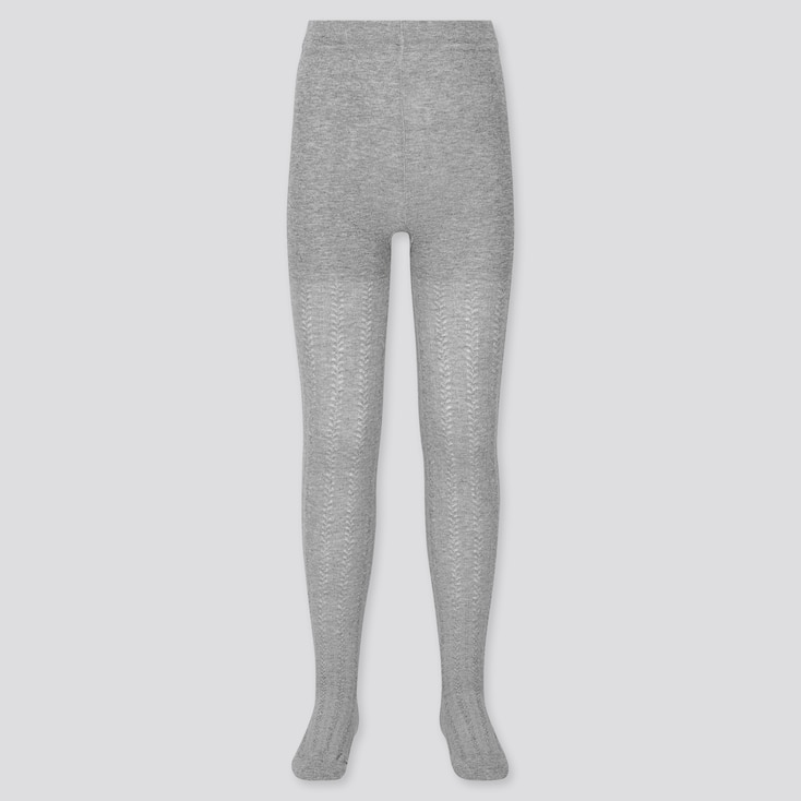 Girls Knitted Tights, Gray, Large
