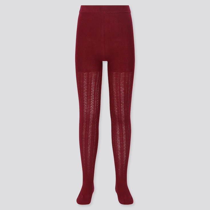 Girls Knitted Tights, Red, Large