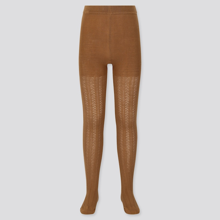 GIRLS KNITTED TIGHTS, BROWN, large