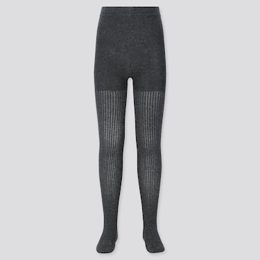 Girls Knitted Tights, Dark Gray, Medium