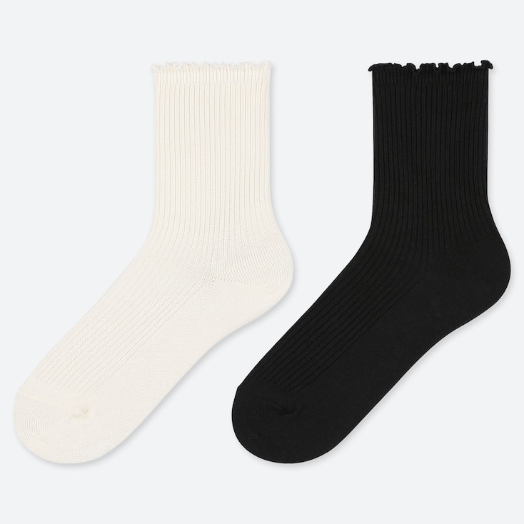 GIRLS REGULAR SOCKS (2 PAIRS), OFF WHITE, large