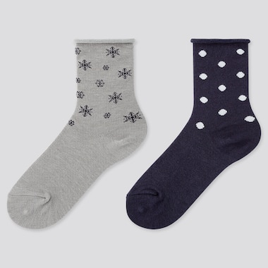 GIRLS HEATTECH SOCKS (2 PAIRS), GRAY, medium