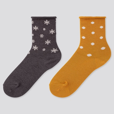 Girls Heattech Socks (2 Pairs), Dark Gray, Medium
