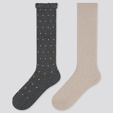 GIRLS HEATTECH DOTTED PRINT KNEE HIGH SOCKS (TWO PAIRS)