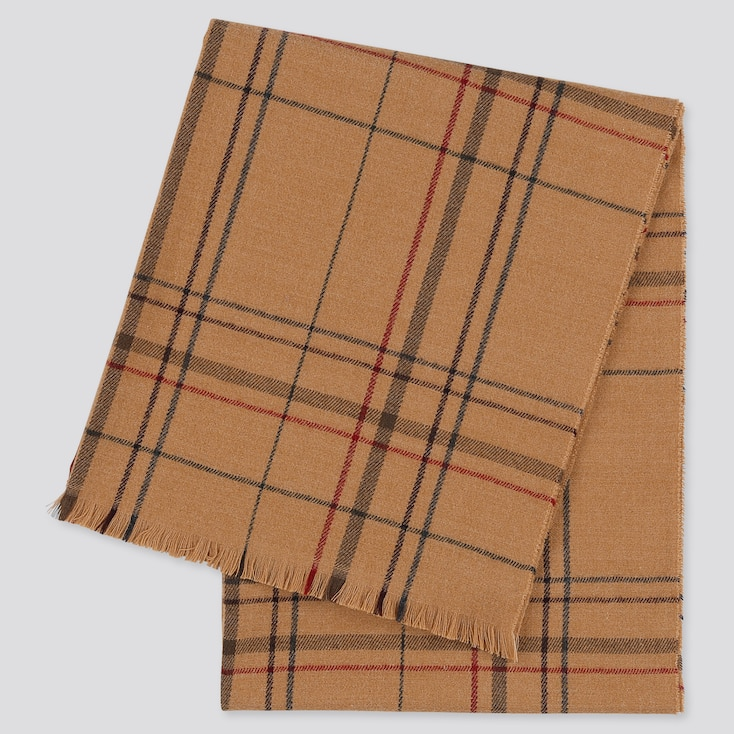 WOMEN CHECKED LIGHT STOLE, BEIGE, large