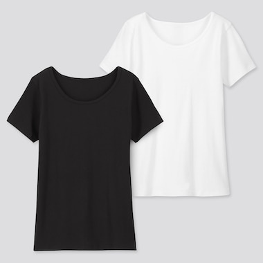 Kids Cotton Inner Scoop Neck (Set Of 2), Black, Medium