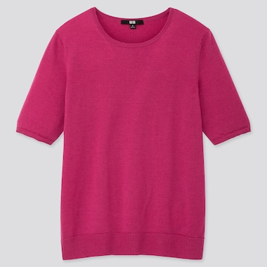 WOMEN EXTRA FINE MERINO CREW NECK HALF-SLEEVE SWEATER, PINK, medium