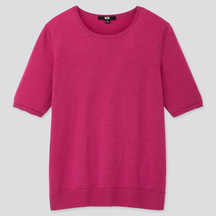 WOMEN EXTRA FINE MERINO CREW NECK HALF-SLEEVE SWEATER, PINK, large