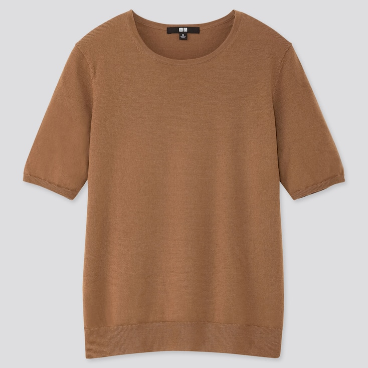 WOMEN EXTRA FINE MERINO CREW NECK HALF-SLEEVE SWEATER, BROWN, large
