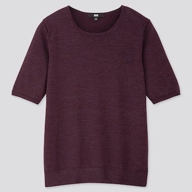 WOMEN EXTRA FINE MERINO CREW NECK HALF-SLEEVE SWEATER, DARK PURPLE, medium