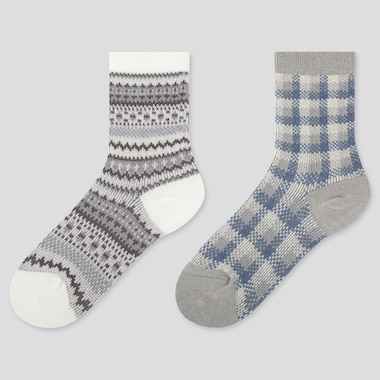 KIDS HEATTECH FAIR ISLE PRINT SOCKS (TWO PAIRS)