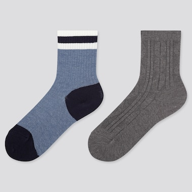KIDS HEATTECH LINE PRINT SOCKS (TWO PAIRS)