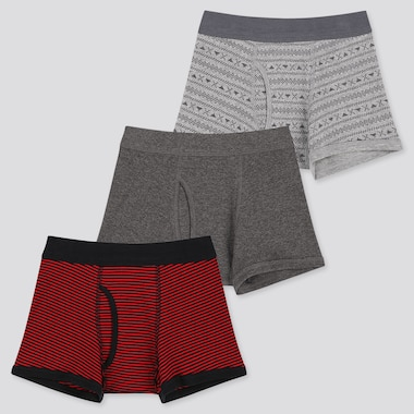 Boys Boxer Briefs (Set Of 3), Red, Medium