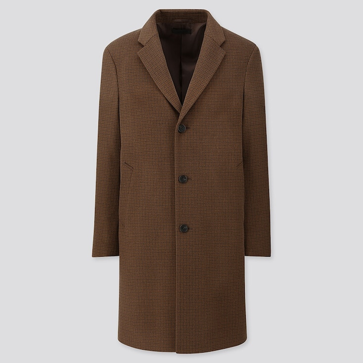 MEN WOOL CASHMERE CHESTERFIELD COAT (PATTERN), BROWN, large