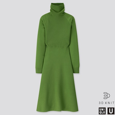 WOMEN U 3D EXTRA FINE MERINO MOCK NECK DRESS, GREEN, medium
