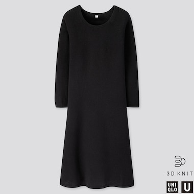 WOMEN U 3D PREMIUM LAMBSWOOL FLARED LONG-SLEEVE DRESS, BLACK, medium