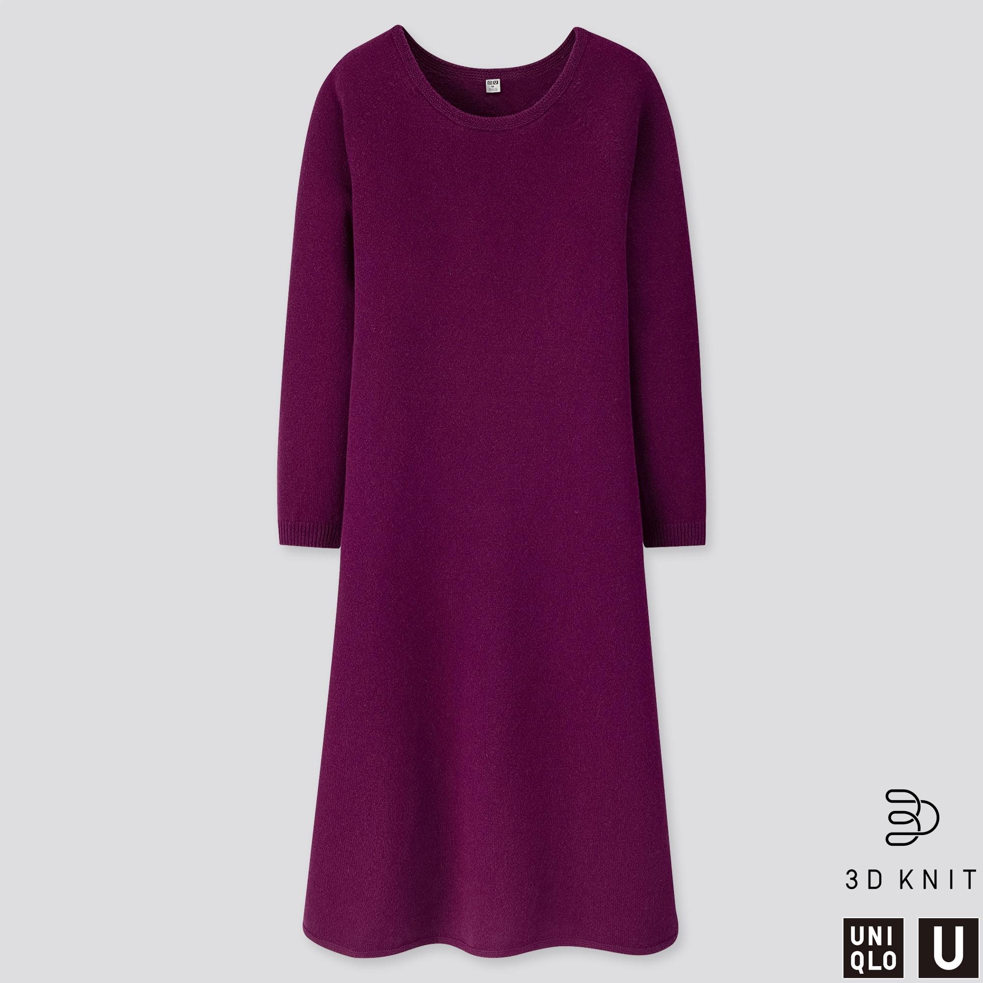 WOMEN U 3D PREMIUM LAMBSWOOL FLARED LONG-SLEEVE DRESS