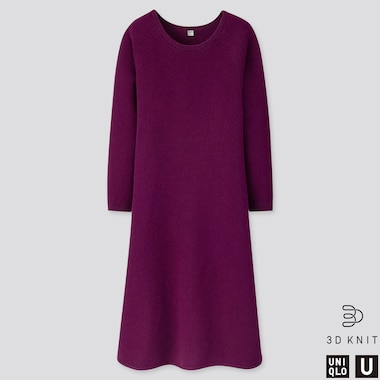 WOMEN U 3D PREMIUM LAMBSWOOL FLARED LONG-SLEEVE DRESS, PURPLE, medium