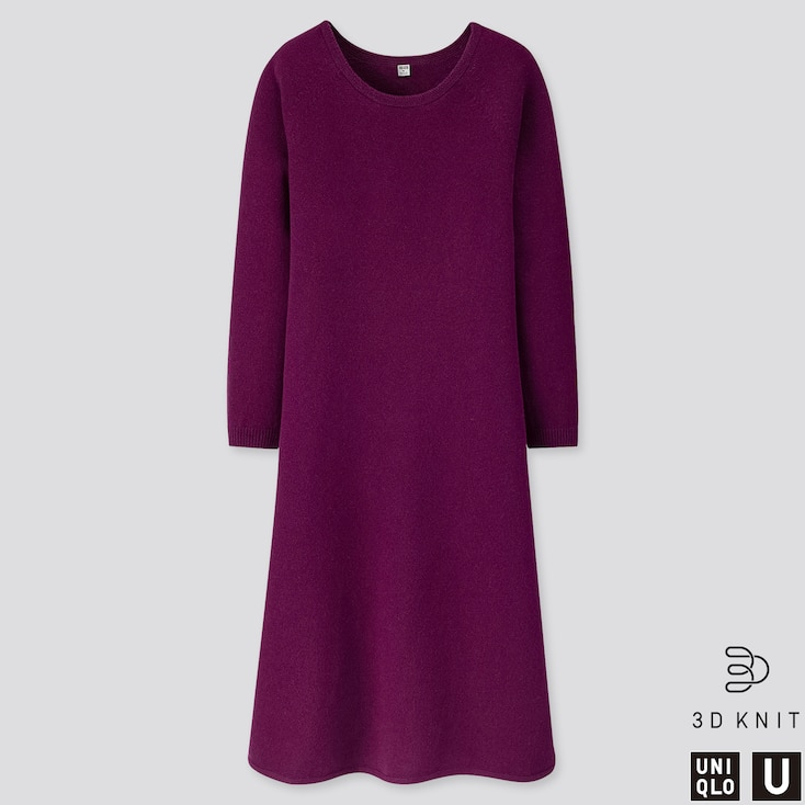 WOMEN U 3D PREMIUM LAMBSWOOL FLARED LONG-SLEEVE DRESS, PURPLE, large