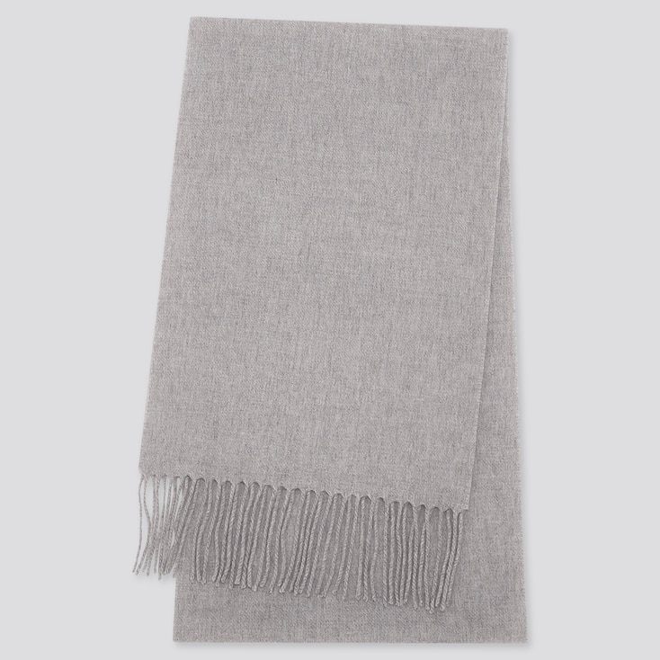 CASHMERE SCARF, LIGHT GRAY, large