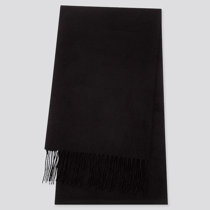 CASHMERE SCARF, BLACK, large