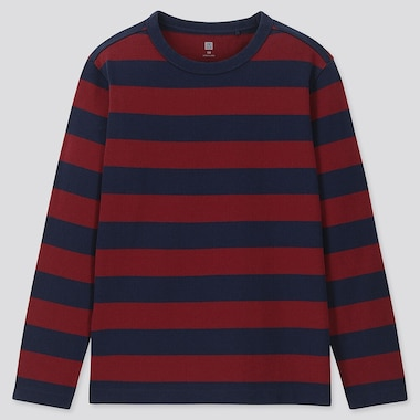 KIDS STRIPED CREW NECK LONG-SLEEVE T-SHIRT, WINE, medium