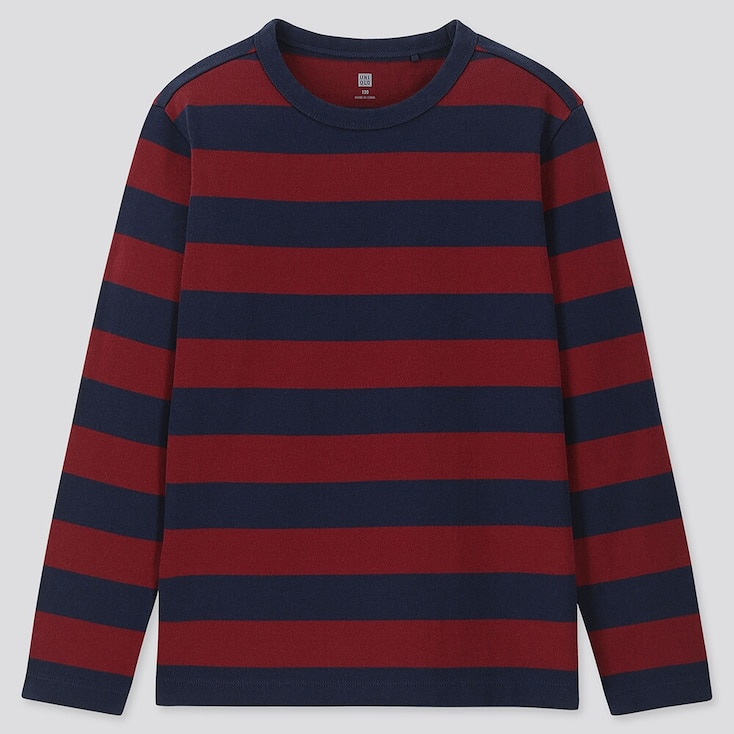 KIDS STRIPED CREW NECK LONG-SLEEVE T-SHIRT, WINE, large