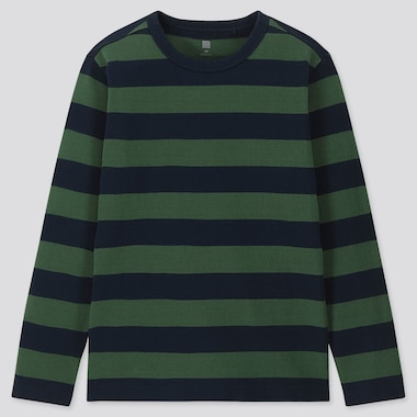 KIDS STRIPED CREW NECK LONG-SLEEVE T-SHIRT, OLIVE, medium