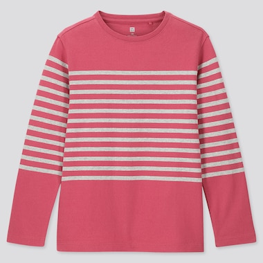 KIDS STRIPED CREW NECK LONG-SLEEVE T-SHIRT, PINK, medium