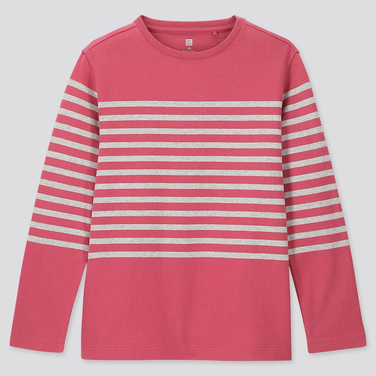KIDS STRIPED CREW NECK LONG-SLEEVE T-SHIRT, PINK, large