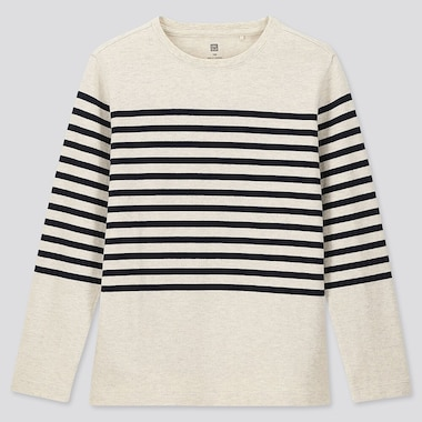 KIDS STRIPED CREW NECK LONG-SLEEVE T-SHIRT, NATURAL, medium