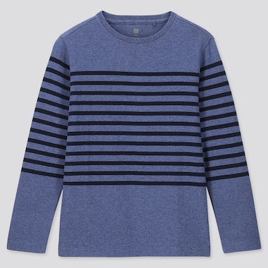 KIDS STRIPED CREW NECK LONG-SLEEVE T-SHIRT, BLUE, medium