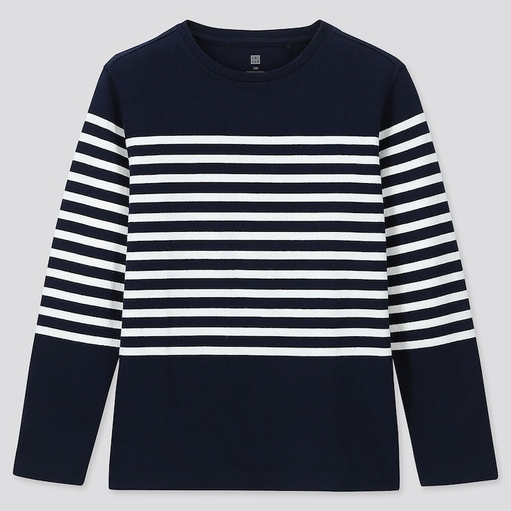 KIDS STRIPED CREW NECK LONG-SLEEVE T-SHIRT, NAVY, large