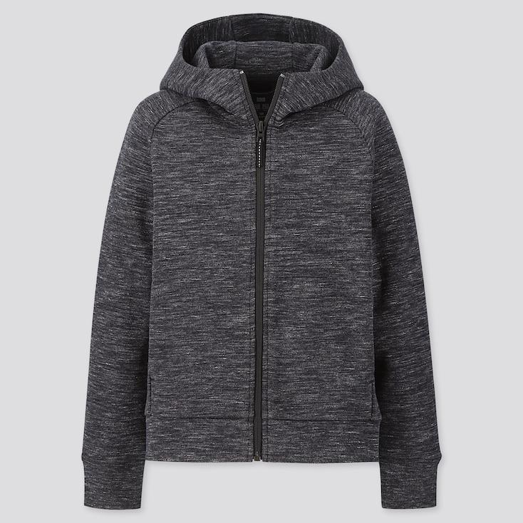 Kids Dry Stretch Sweat Long-Sleeve Full-Zip Hoodie, Dark Gray, Large