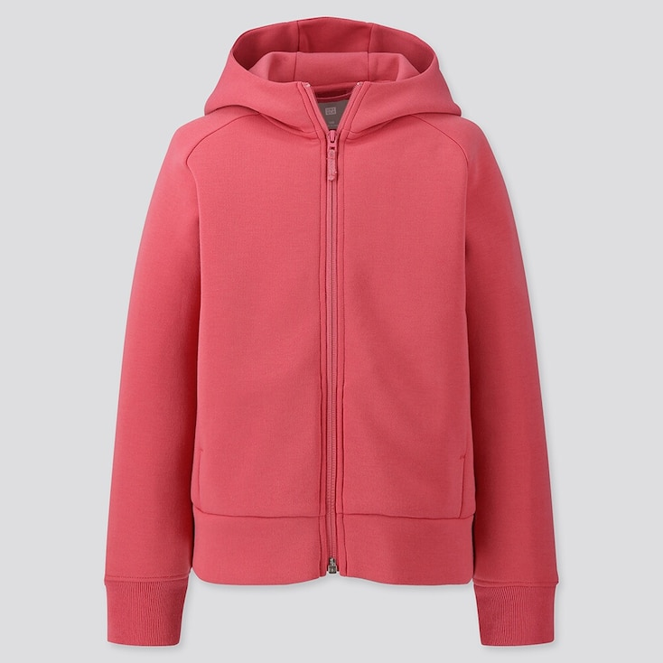 Kids Dry Stretch Sweat Long-sleeve Full-zip Hoodie, Pink, Large
