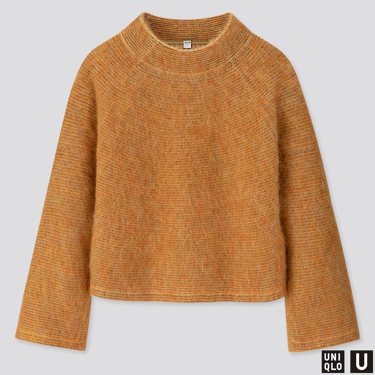 Women U Shaggy Wide-sleeve Sweater, Yellow, Large