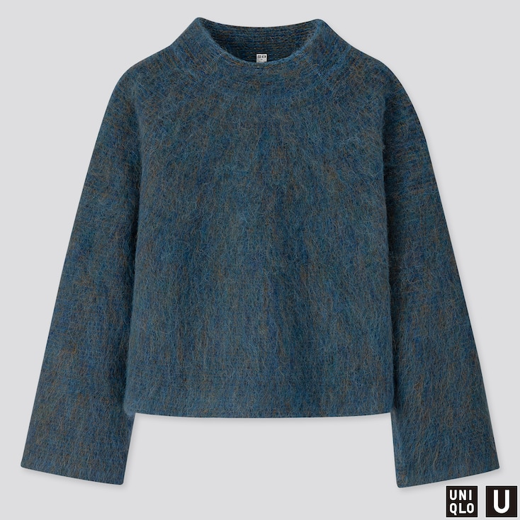 WOMEN U SHAGGY WIDE-SLEEVE SWEATER, BLUE, large