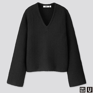 WOMEN U WOOL CREPE WIDE-SLEEVE SWEATER, BLACK, medium