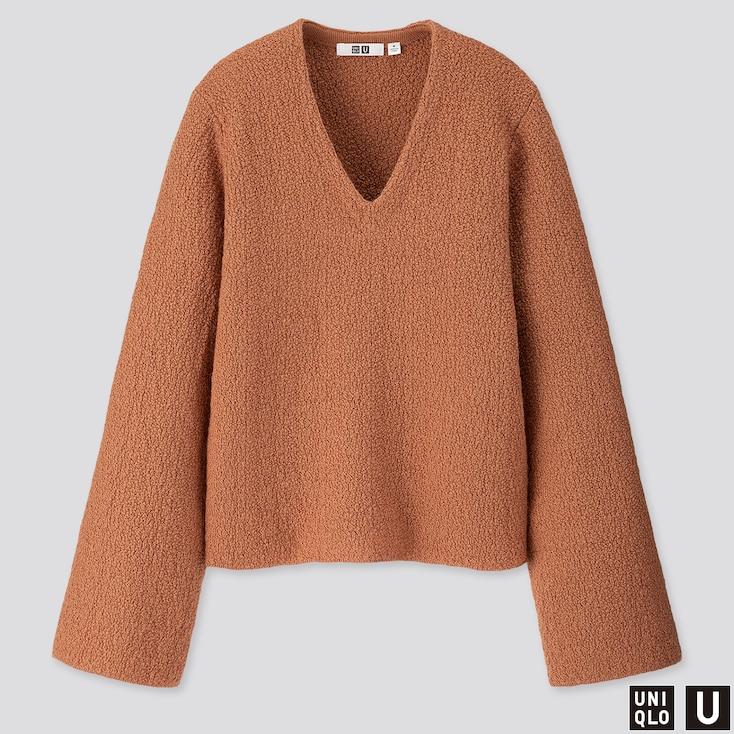 Women U Wool Crepe Wide-sleeve Sweater, Light Orange, Large