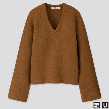 WOMEN U WOOL CREPE WIDE-SLEEVE SWEATER, BROWN, medium