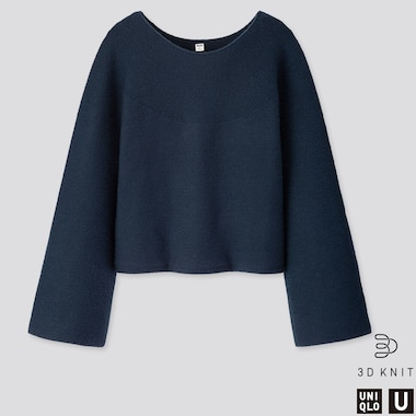 WOMEN U 3D EXTRA FINE MERINO WIDE-SLEEVE SWEATER, BLUE, medium