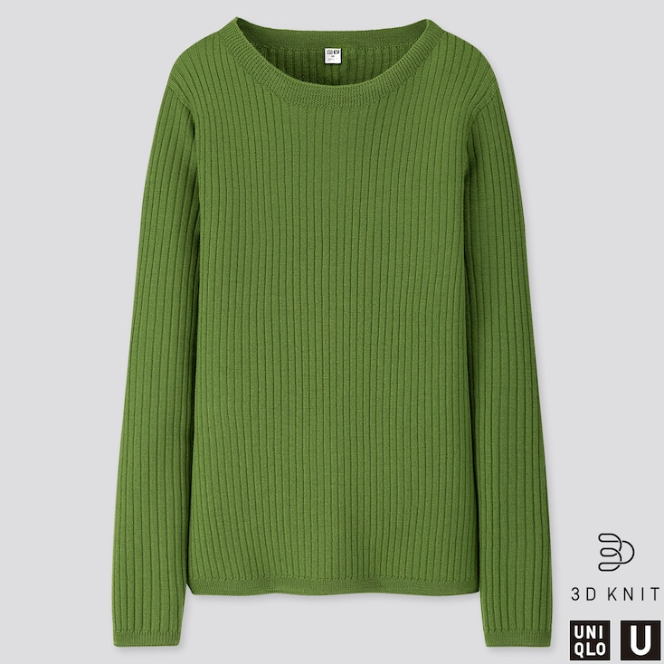 WOMEN U 3D EXTRA FINE MERINO RIBBED SWEATER, GREEN, large