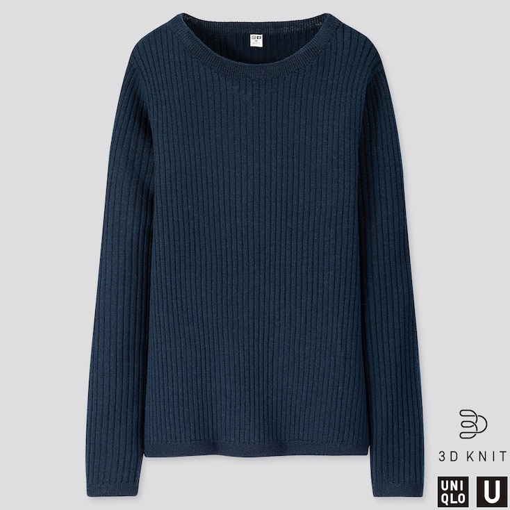 WOMEN U 3D EXTRA FINE MERINO RIBBED SWEATER, BLUE, large