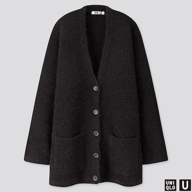 WOMEN U WOOL-BLEND BOUCLE KNIT COAT, BLACK, medium