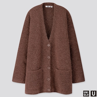 WOMEN U WOOL-BLEND BOUCLE KNIT COAT, BROWN, medium