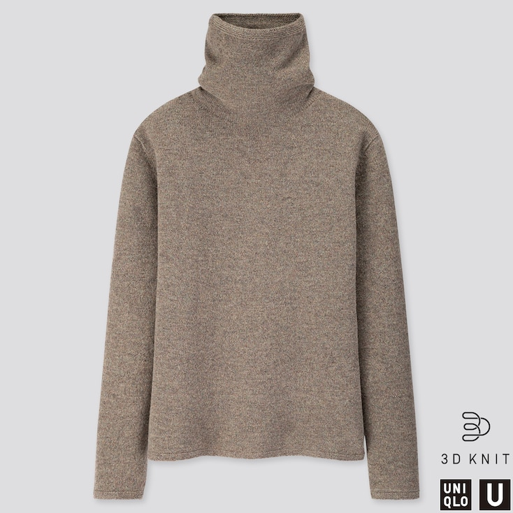 Women U 3d Premium Lambswool Turtleneck Sweater, Gray, Large